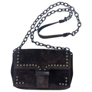 Tomas Maier Shoulder Bag Brown Suede Studs Chain